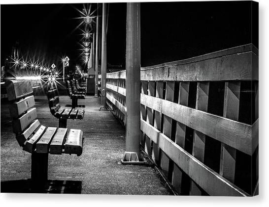 Santa Cruz Wharf At Night Canvas Print