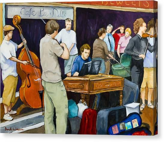 Street Musicians In Dublin Canvas Print by Brenda Williams
