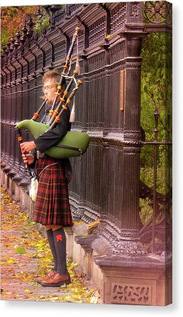Bagpipes Canvas Print - Street Performer Playing The Bagpipes by Art Spectrum
