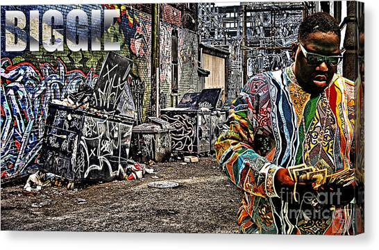 Kim Canvas Print - Street Phenomenon Biggie by The DigArtisT