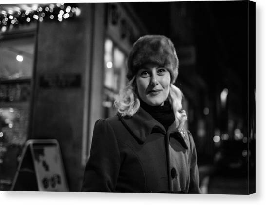 Street Portrait Of A Woman Canvas Print by The Man With a Hat