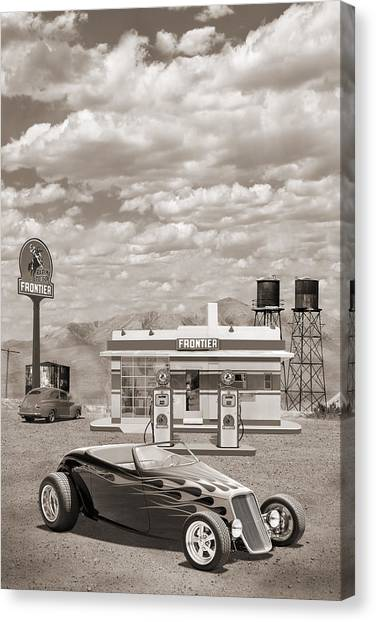 Street Rods Canvas Print - Street Rod At Frontier Station Sepia by Mike McGlothlen