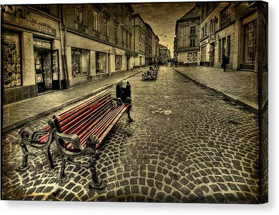 Empty Canvas Print - Street Seat by Evelina Kremsdorf