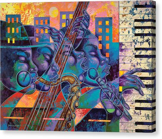 Jazz Canvas Print - Street Songs by Larry Poncho Brown