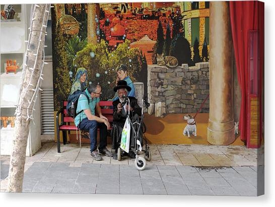 Canvas Print featuring the photograph Street View In Jerusalem by Dubi Roman