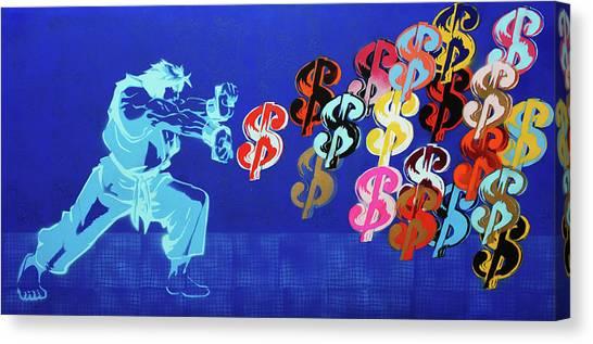 Street Fighter Canvas Print - Streetfightter Dolla Dolla Bill by Surj LA
