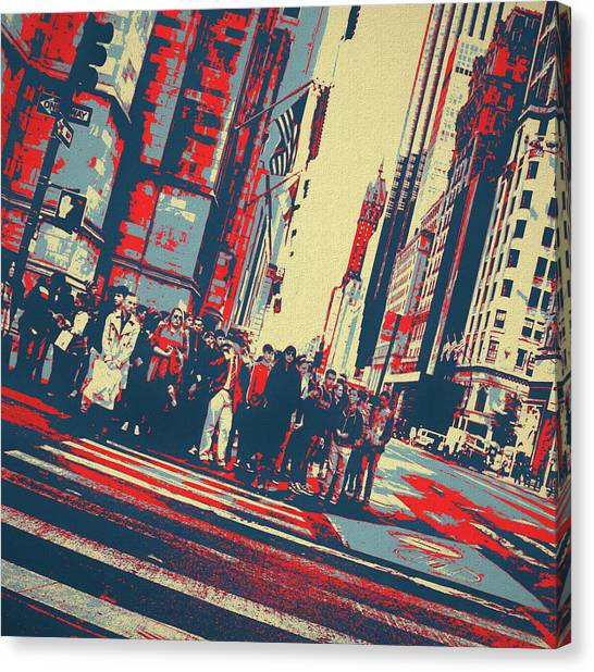 Faces In The Crowd Canvas Print - Streets Of Manhattan by Dan Sproul