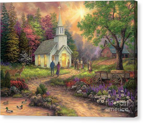 Church Canvas Print - Strength Along The Journey by Chuck Pinson