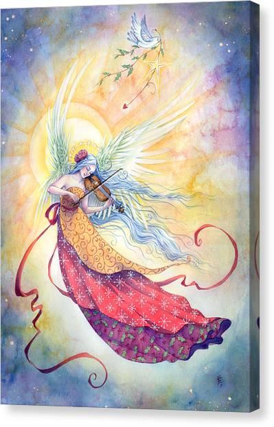 Celestial Canvas Print - Strings Of Worship by Sara Burrier