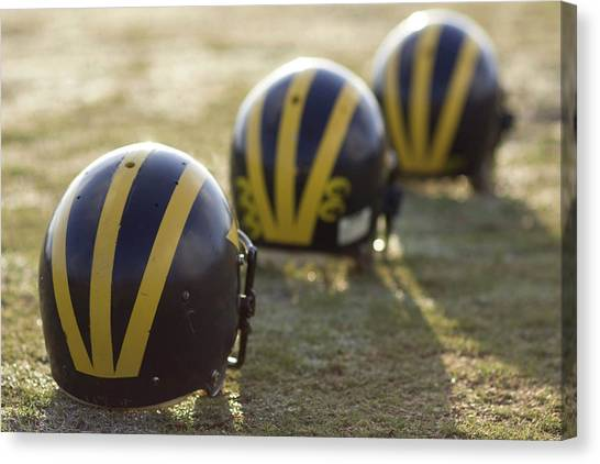 Striped Helmets On A Yard Line Canvas Print
