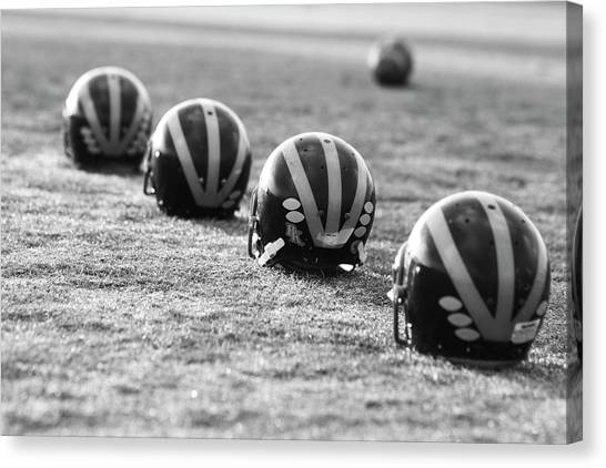 Striped Helmets On The Field Canvas Print