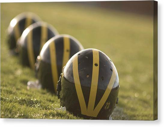 Striped Helmets On Yard Line Canvas Print