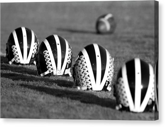 Striped Helmets With Football Canvas Print