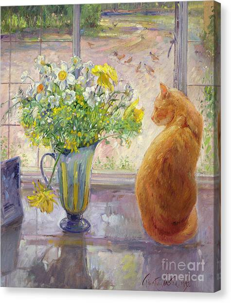 Pheasants Canvas Print - Striped Jug With Spring Flowers by Timothy Easton