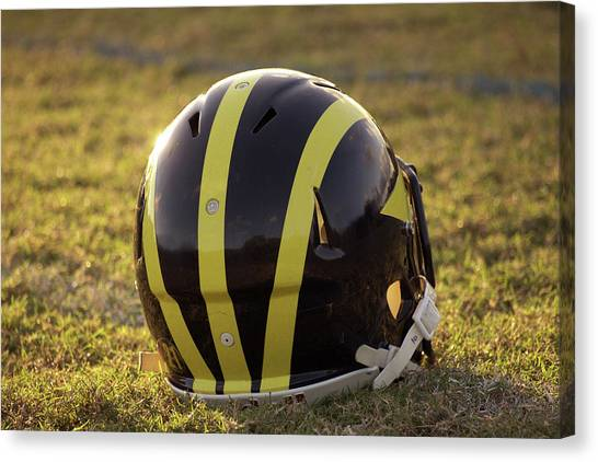 Striped Wolverine Helmet On The Field At Dawn Canvas Print