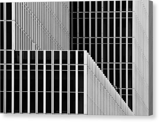 Modern Architecture Canvas Print - Stripes And Windows by Greetje Van Son