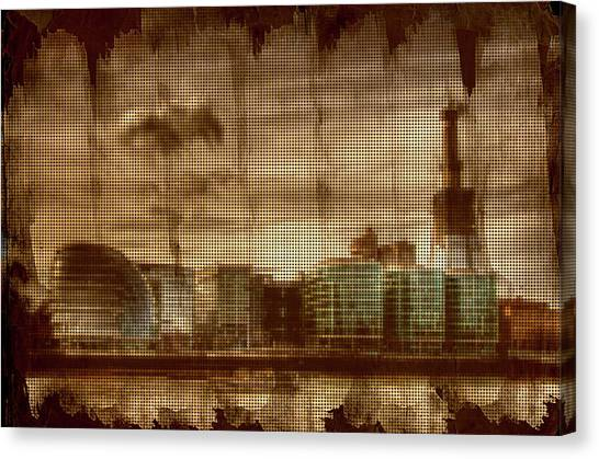 Pixelated Canvas Print - Stroked And Pixelated London Docks by Andrea Barbieri