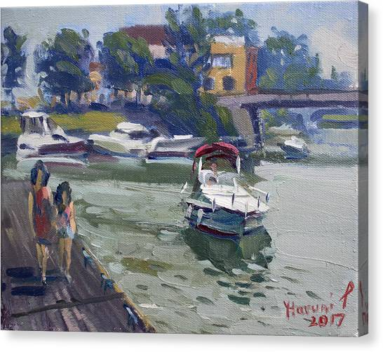 Harbor Canvas Print - Strolling Along North Tonawanda Harbor by Ylli Haruni