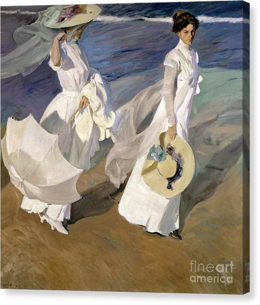 Windy Canvas Print - Strolling Along The Seashore by Joaquin Sorolla y Bastida