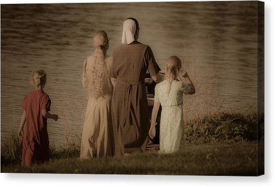 Strolling Seamstress Family Canvas Print