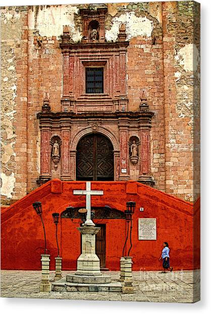 Strolling The Cathedral Plaza Canvas Print by Mexicolors Art Photography