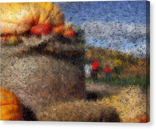 Strolling Through Autumn Canvas Print by Tingy Wende