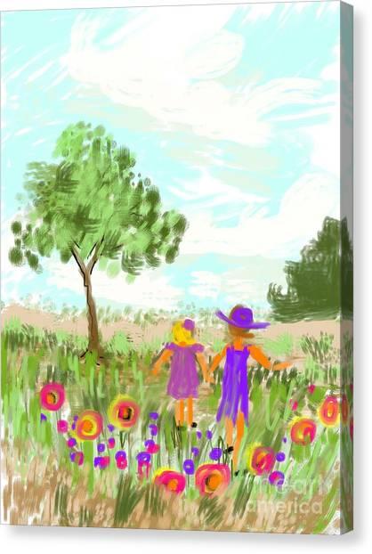 Strolling Thru The Field Canvas Print