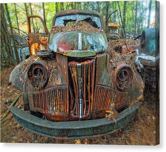 Studebaker With Broken Glass Canvas Print