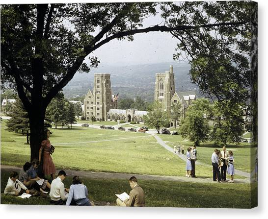 Cornell University Canvas Print - Students Sit On A Hill Overlooking by Volkmar Wentzel