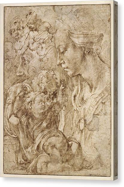 Michelangelo Simoni Canvas Print - Studies For A Holy Family by Michelangelo di Lodovico Buonarroti Simoni