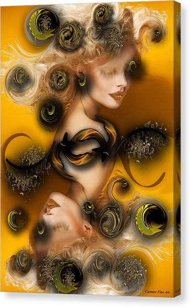 Canvas Print featuring the digital art Study For Charming Poetry by Carmen Fine Art