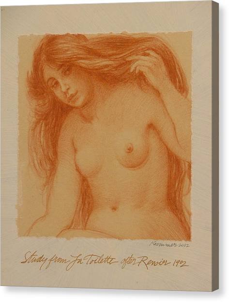 Study From La Toilette After Renoir Canvas Print by Gary Kaemmer
