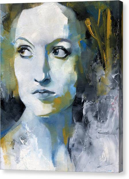 Face Canvas Print - Study In Blue And Ochre by Patricia Ariel
