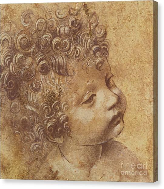 Pen Canvas Print - Study Of A Child's Head by Leonardo Da Vinci