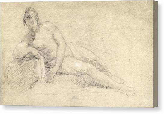 Pencils Canvas Print - Study Of A Female Nude  by William Hogarth
