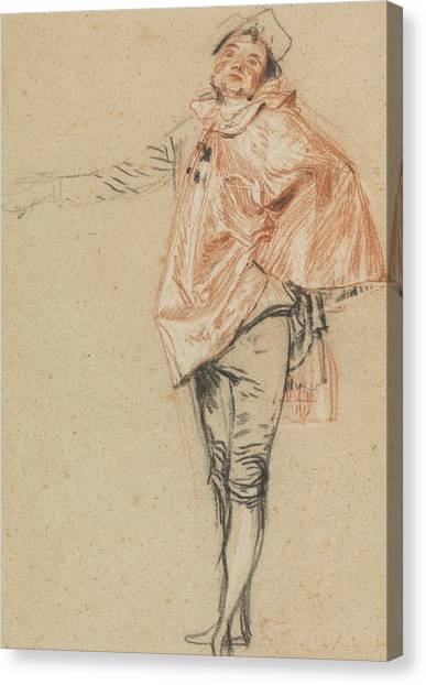 Rococo Art Canvas Print - Study Of A Standing Dancer With An Outstretched Arm by Antoine Watteau