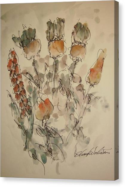 Study Of Flowers V Canvas Print by Edward Wolverton