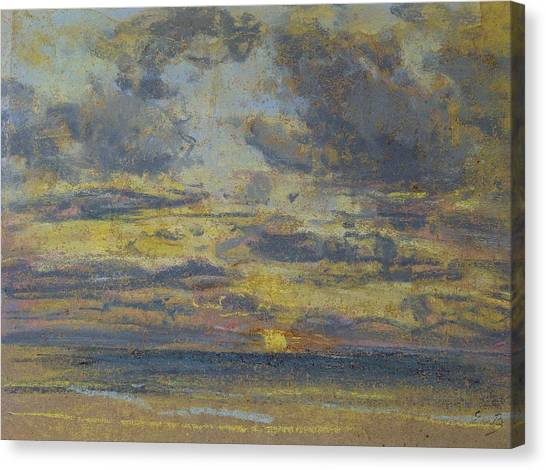 Sunset Horizon Canvas Print - Study Of The Sky With Setting Sun by Eugene Louis Boudin