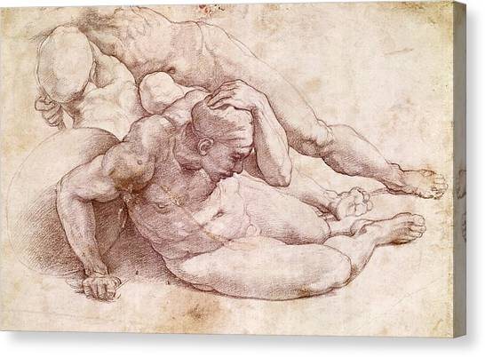 Torso Canvas Print - Study Of Three Male Figures by Michelangelo