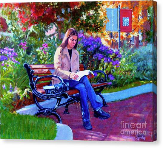 Boston College Canvas Print - Studying Before Class by Candace Lovely