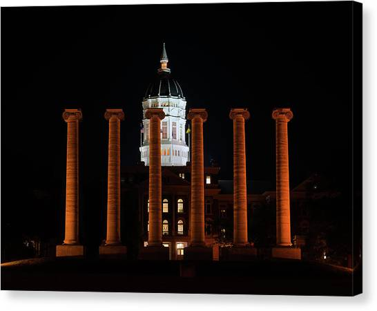 University Of Missouri Canvas Print - Studying On The Columns by Allen Skinner