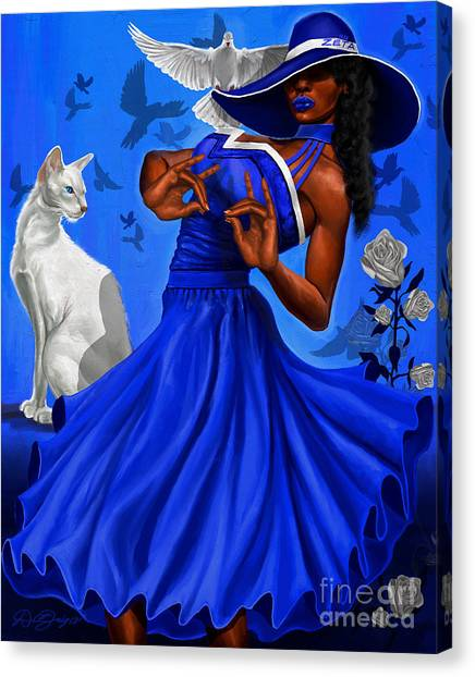 Zeta Phi Beta Canvas Print - Stunning Blue And White by The Art of DionJa'Y