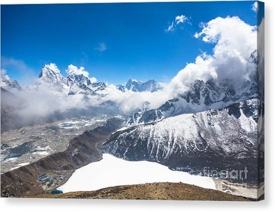 Stunning Panorama Over Gokyo In Nepal Canvas Print