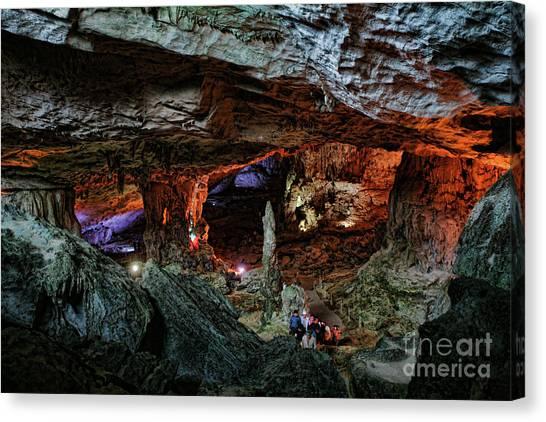Limestone Caves Canvas Print - Stunning Slot Cave Vietnam  by Chuck Kuhn