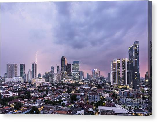 Stunning Sunset Over Jakarta, Indonesia Capital City Canvas Print