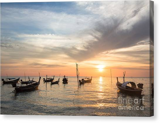 Stunning Sunset Over Wooden Boats In Koh Lanta In Thailand Canvas Print