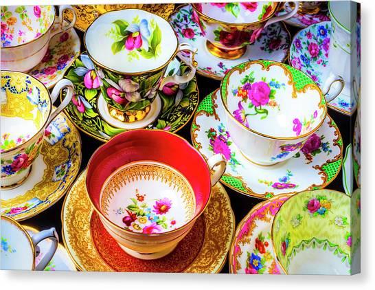 Saucer Canvas Print - Stunning Tea Cups by Garry Gay