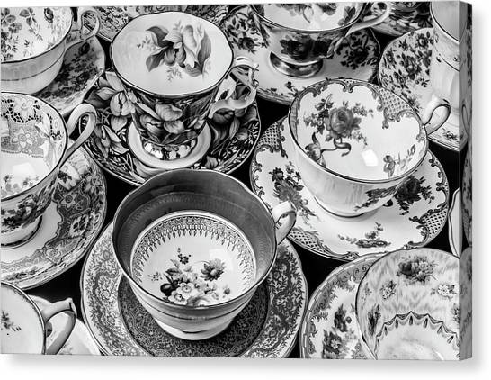 Saucer Canvas Print - Stunning Tea Cups In Black And White by Garry Gay