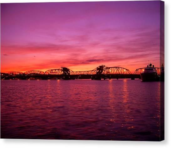Sturgeon Bay Sunset Canvas Print by Jeremy Evensen