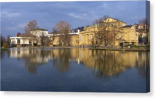 Baden Wuerttemberg Canvas Print - Stuttgart State Theater Beautiful Reflection In Blue Water by Matthias Hauser